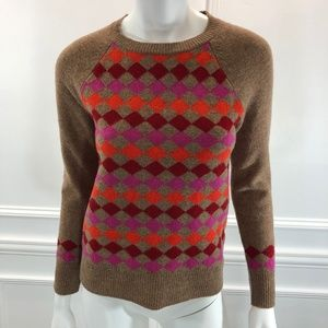 J. Crew Sweaters - J.Crew XS Lambswool Diamond Sweater Brown Red E6
